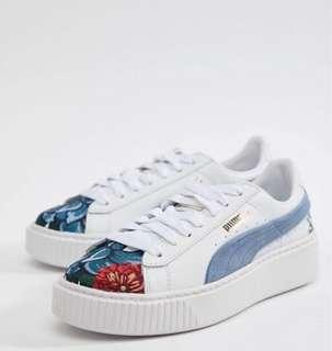 puma suede platforms with floral embroidery