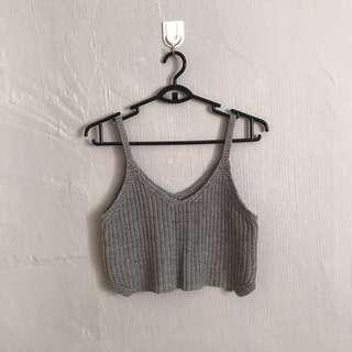 grey knitted crop cami