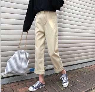 High waist beige straight jeans