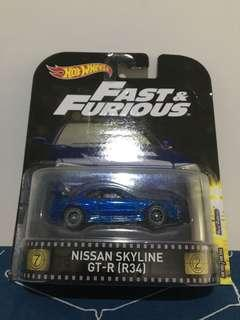 Hotwheels Fast And Furious Nissan Skyline GT-R R34