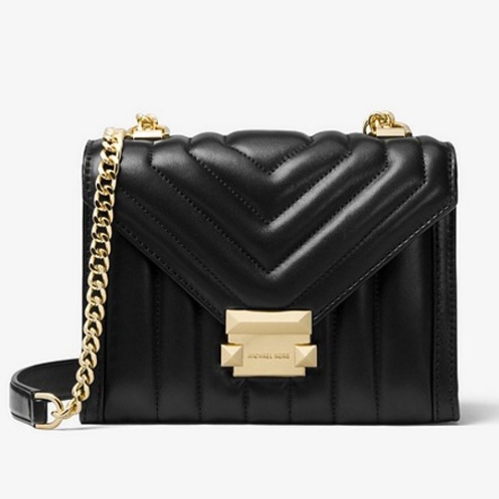 0328af39095a Auth BNWT Michael Kors Whitney Quilted Leather Convertible Black ...