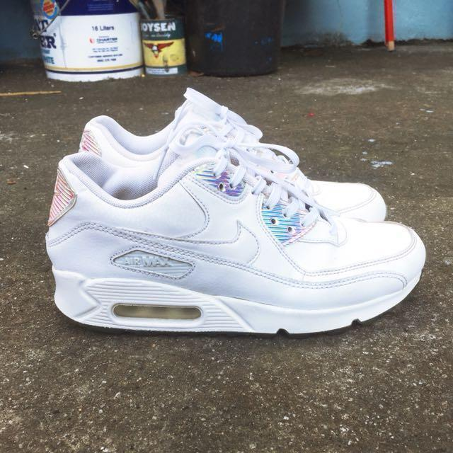 half off 7d8ae f6a73 AUTHENTIC Nike Airmax 90 Premium White Blue Hologram on Carousell