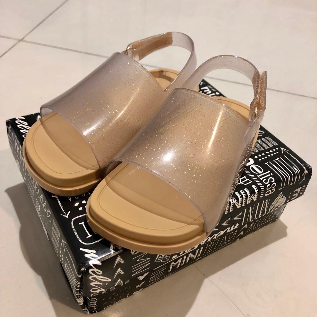 652c42d766b341 BNIB Mini Melissa Gold Sparkly Sandals