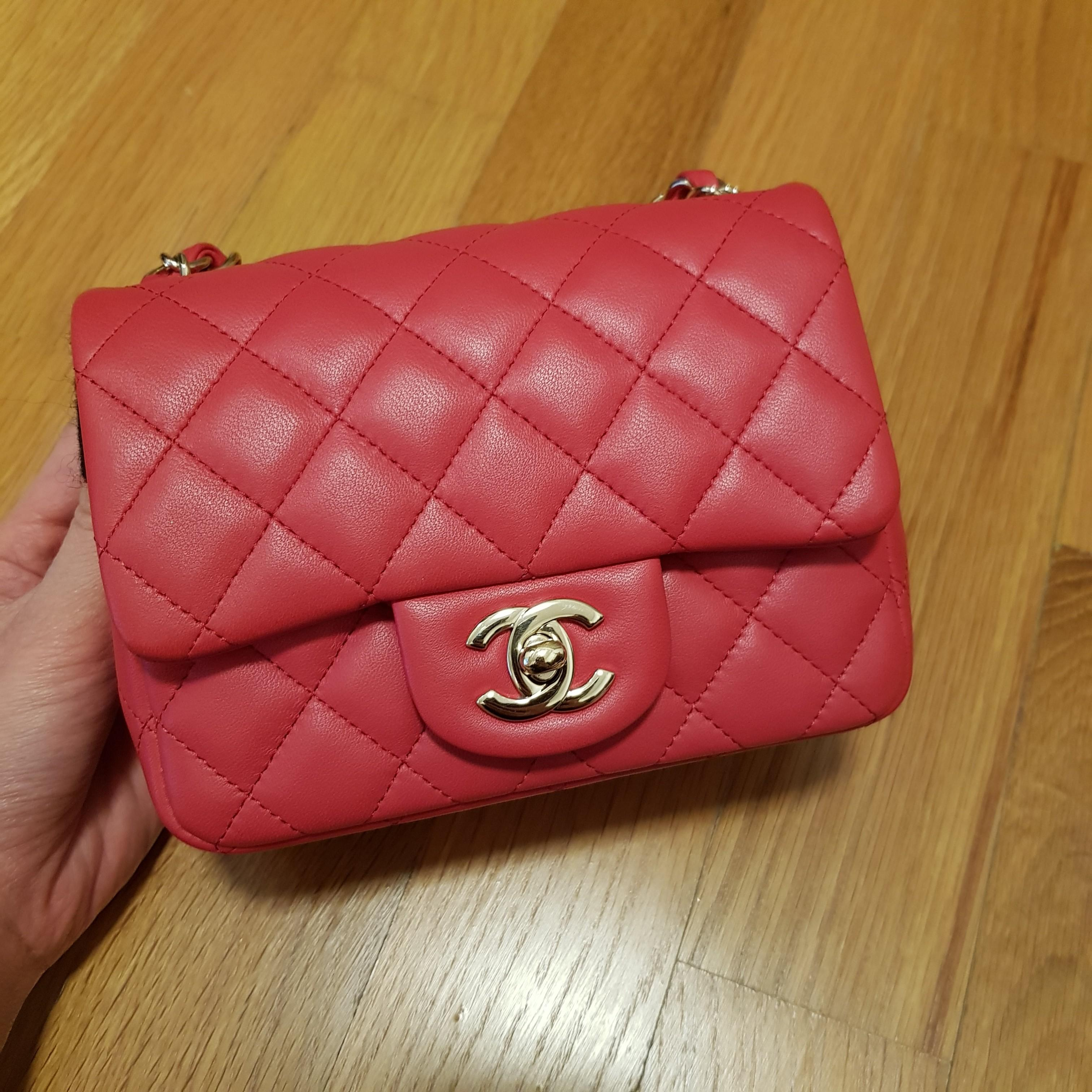 b979a98b Chanel Mini Square Flap in Coral Hot pink GHW #25, Luxury, Bags ...