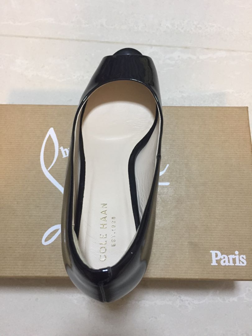 adf2df9077 Cole Haan Black Patent Peep-toe Wedges, Women's Fashion, Shoes, Others on  Carousell
