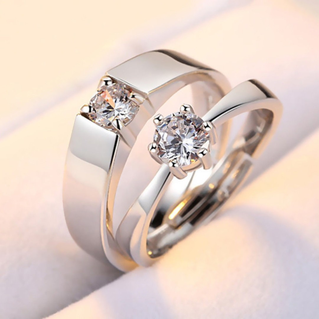 Crystal cz Stone Wedding Engagement Rings for Couples Silver Couple Set Instock Brand New Free Mail Anniversary gift love heart