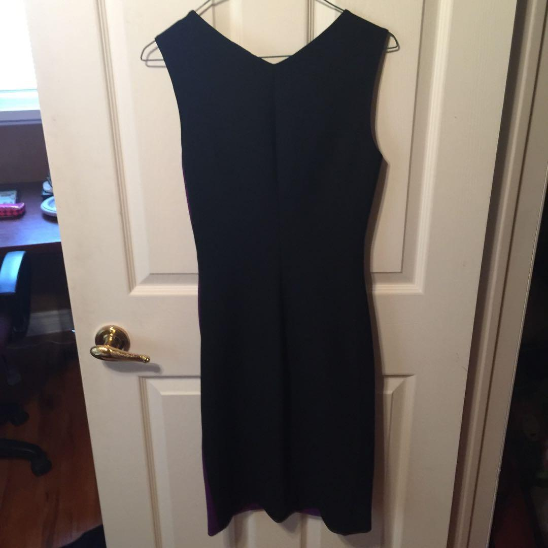 EUC DvF DianeVonFustenberg Black Purple Ruffle Dress