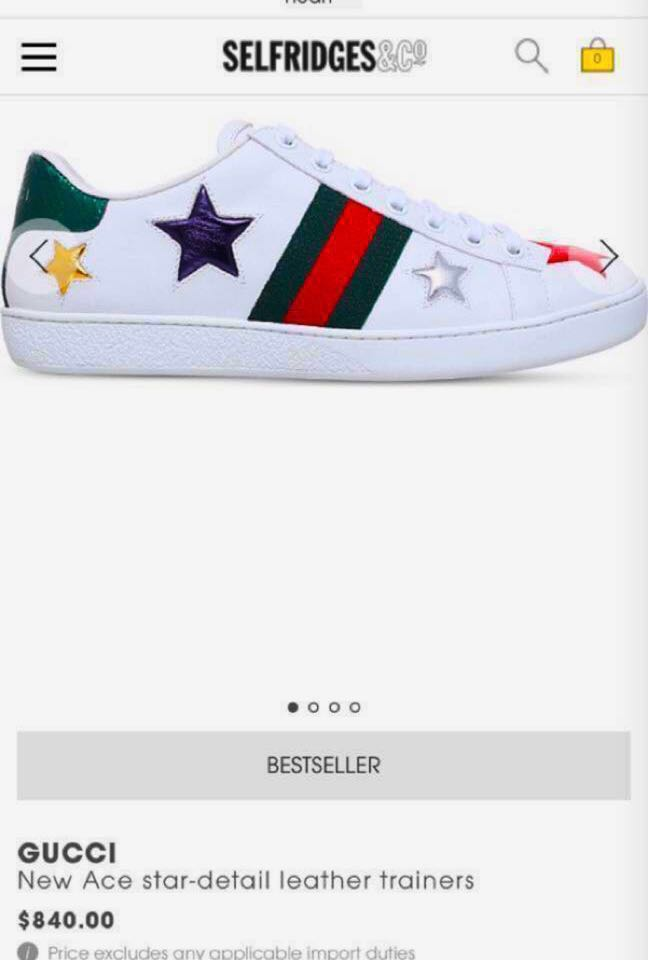 1c3f87dca30 GUCCI new ace star detail leather Trainers