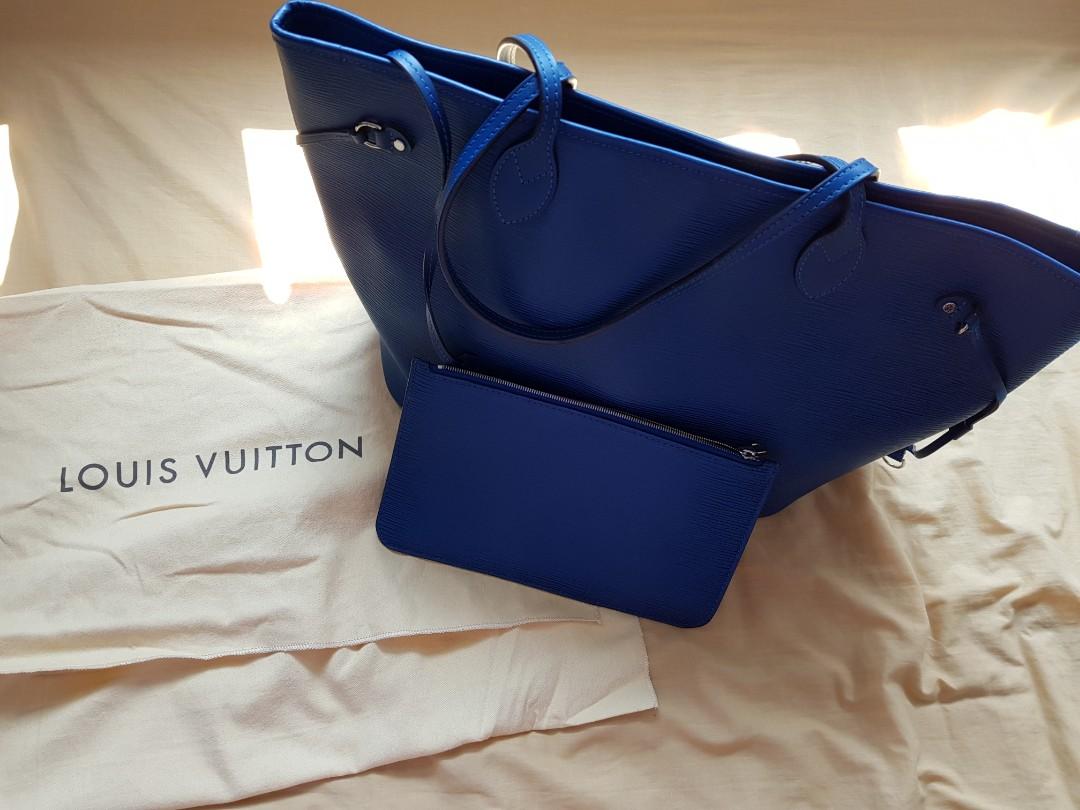 e78401ce3 LV Neverfull MM Bag Epi Blue, Women's Fashion, Bags & Wallets ...
