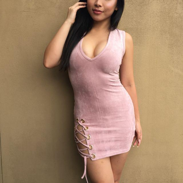 Pink Suede Mini Dress With Lace Up Detail Womens Fashion