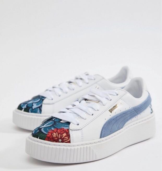 6f0b4f206294 puma suede platforms with floral embroidery
