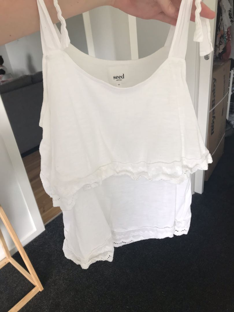 Seed heritage white layered cami tie shoulders size XS EUC