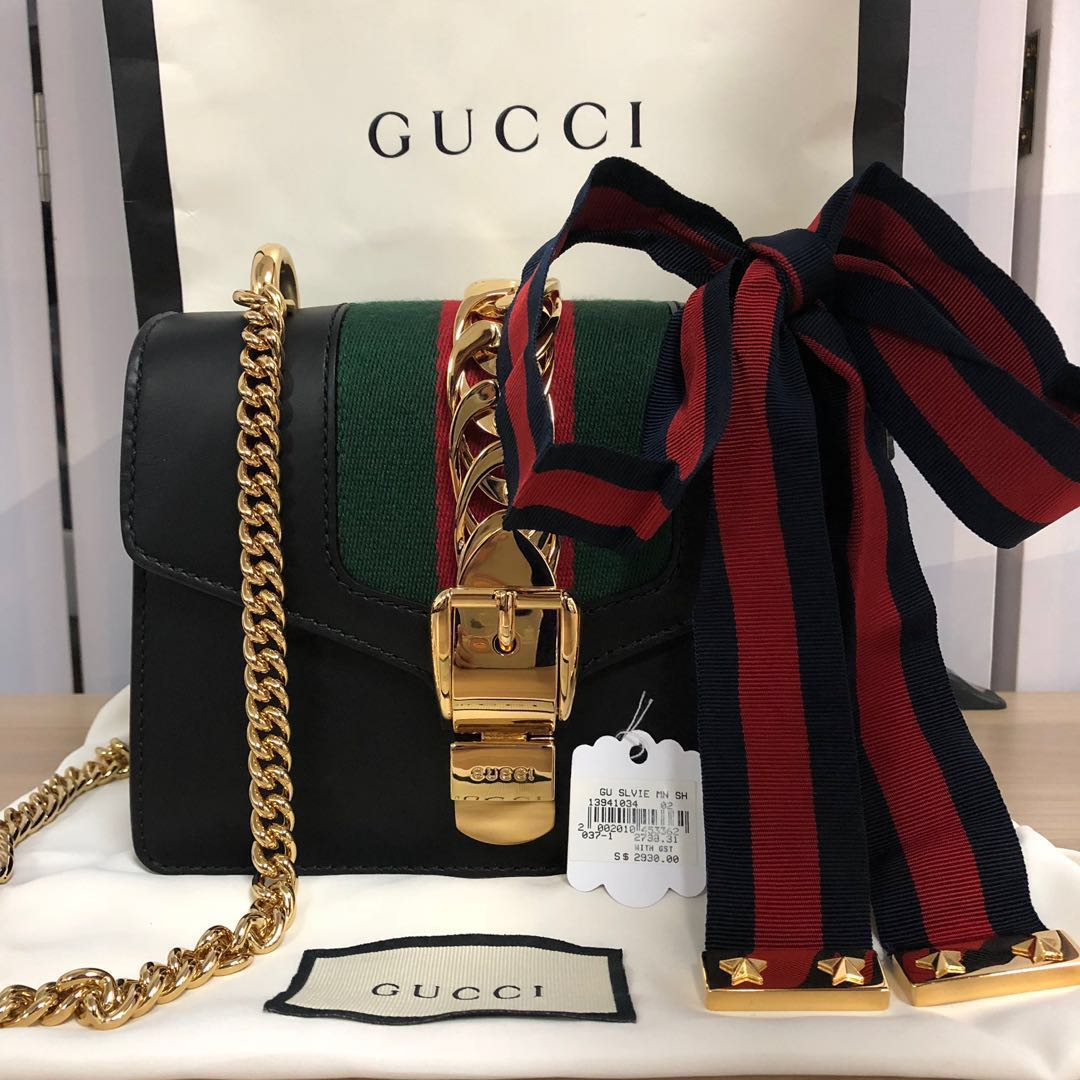 7a1e35df30ddb7 SOLD> 100% Authentic and BN Gucci Sylvie Leather Mini Chain Bag ...