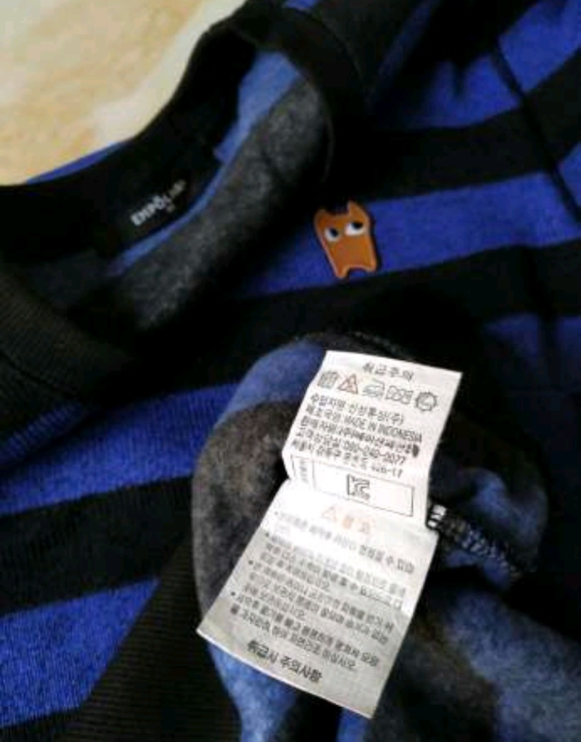 Sweater crewneck empolham original stripe blue black unisex