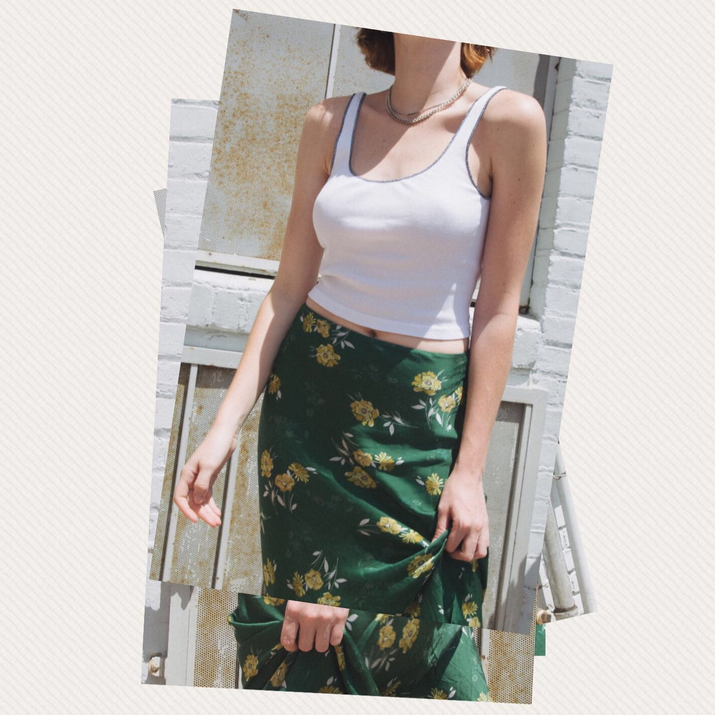 2456cf8322 UO Midi satin green floral skirt, Women's Fashion, Clothes, Dresses ...