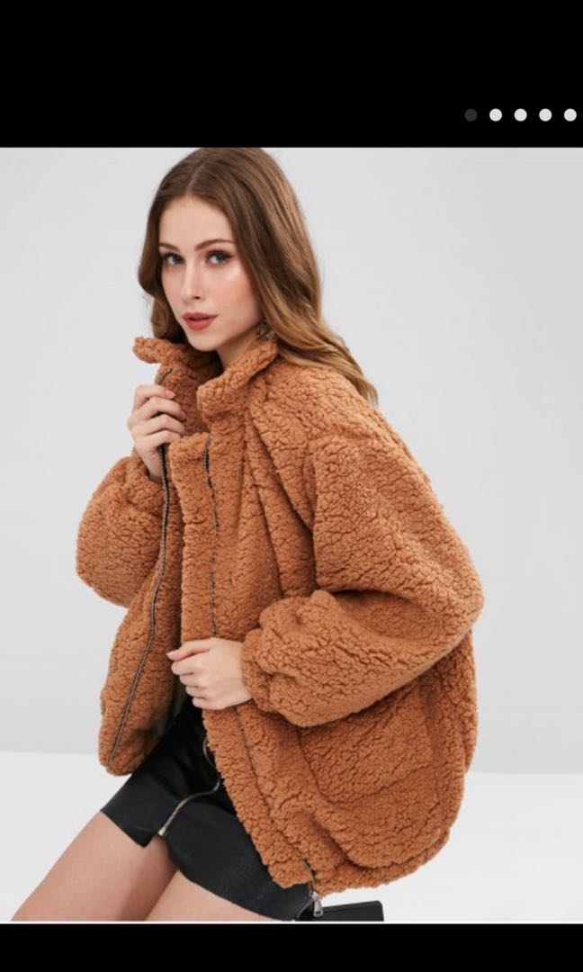 65e6103226 Zaful Teddy jacket M, Women's Fashion, Clothes, Outerwear on Carousell