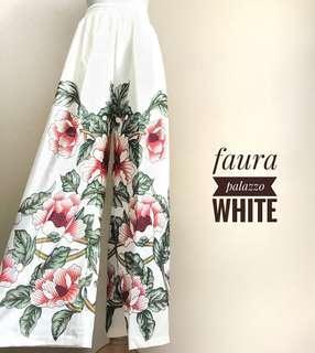 BN Floral White Palazzo Wide Leg Pants
