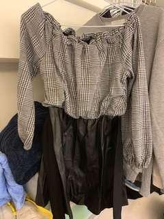 格紋皮裙綁帶洋裝