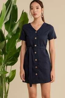 WM Wardrobemess Linen Pocket Dress Navy