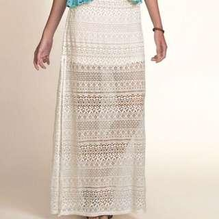 Hollister White Lace Maxi Skirt