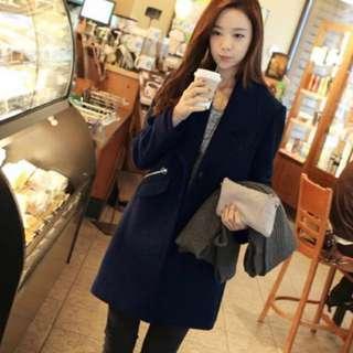 🚚 深藍色顯瘦側金屬口袋長版翻領大衣外套 #十二月女裝半價