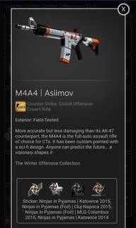 M4A4 Asiimov skin w 148$ worth of NiP stickers |FIELD TESTED