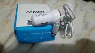 Anker usb car charger white power drive with lightning connector iphone ipad