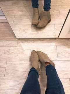 (保留中)英國倫敦正品Asos真皮 麂皮 駝色短靴Chelsea boots