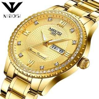Nibosi golden watch