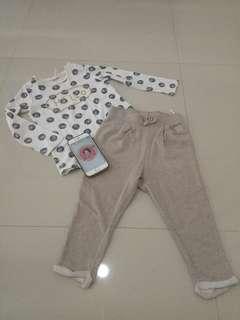 H&M baby sweatpants + kaos 18-24m