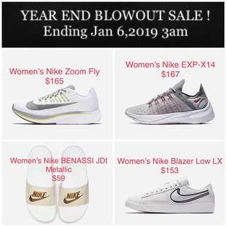 NIKE YEAR END BLOWOUT SALE! Ending Jan 6,2019 3am | Various Sizes available for Preorder | Prices from $59 | Men's & Women's