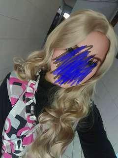 PRELOVED 1X PAKAI wig blonde curly panjang