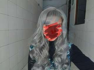 Wig grey curly poni PRELOVED 1X PAKAI