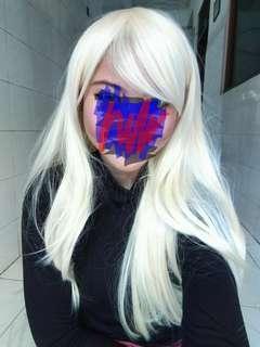 Wig putih lurus panjang PRELOVED 1X PAKAI