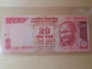 二號仔 印度國父聖雄甘地 UNC全新直版2015年20元