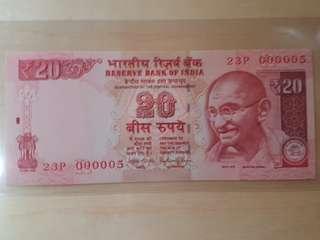 5號仔 印度國父聖雄甘地 UNC全新直版2015年20元