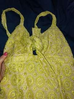 Women's pretty little thing yellow good material dress size 10
