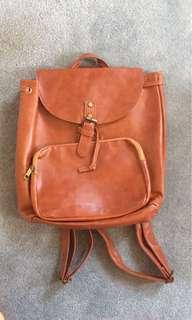Faux Tanned Leather Bagpack