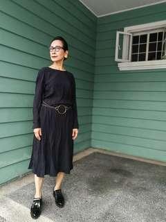 UNIQLO X LEMAIRE Black Rayon Longsleeve Dress