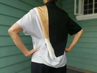 DRIES VAN NOTEN Black Patchwork Drapey Back Blouse