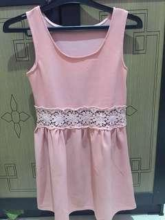 dress bordir pink
