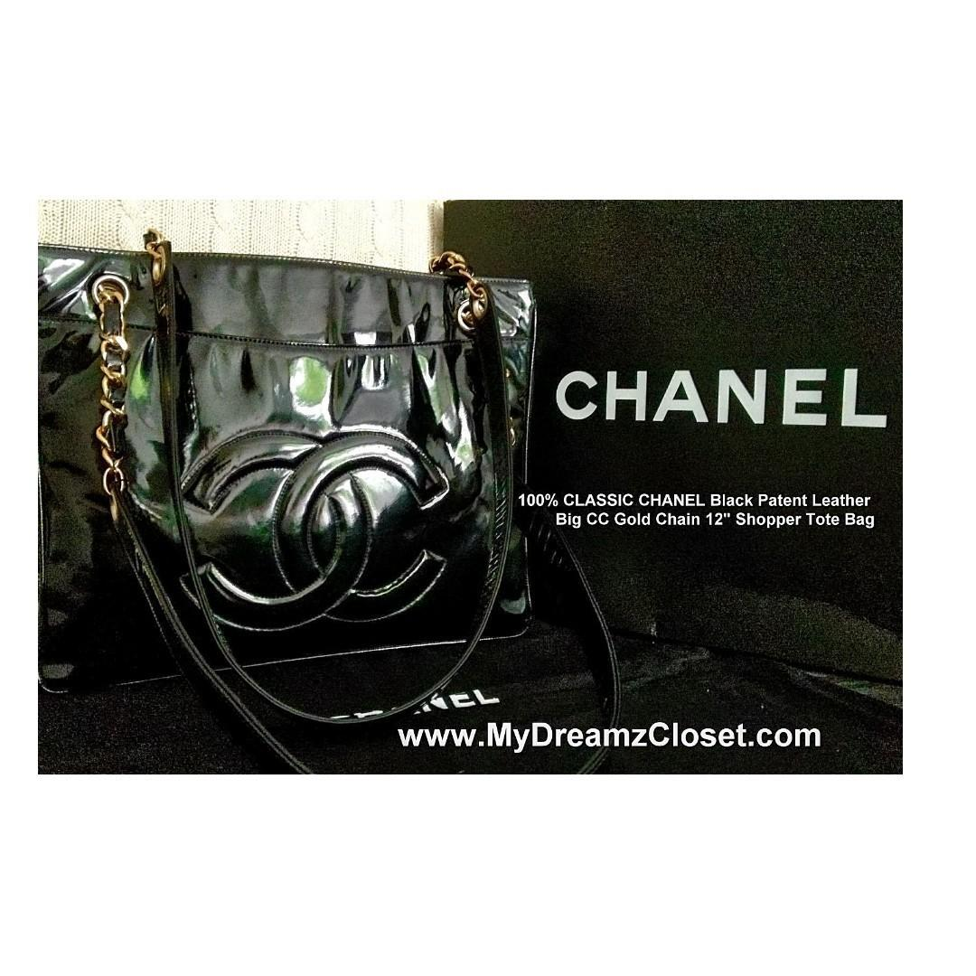 "100% CLASSIC CHANEL Black Patent Leather Big CC Gold Chain 12"" Shopper Tote Bag"