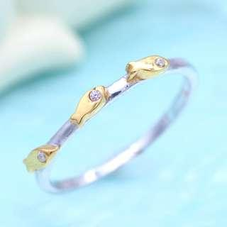 Gold fish with diamond silver ring, tigarpaws collection RN346
