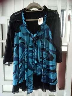 BNWT Rose of Sharon blue printed top