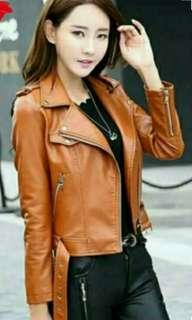 JACKET LEATHER SYNTHETIC - BROWN