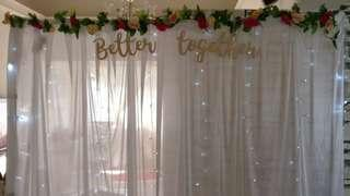 (Rental) Fairylights Backdrop with flower vines