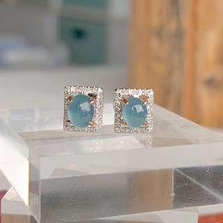 Icy A-Grade Type A Natural Royal Blue Jadeite Jade Oval Cabochon Earring (18k White Gold and Diamonds) No.180099