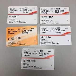 台灣高鐵 票根 2018年11-12月 來回票 台北 台中 高雄左營