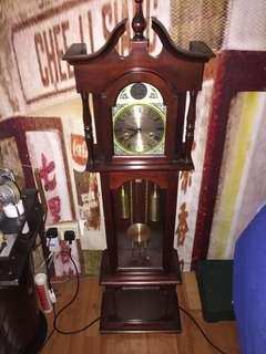 Antique clock floor standing 2 hole winding half hour chime