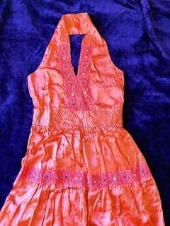 100% coral silk dress 10-12